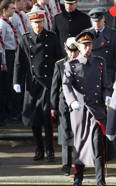 Wreaths Are Laid At The Cenotaph On Remembrance Sunday [armistice,military uniform,uniform,military officer,official,marching,military person,police officer,law enforcement,military,event,prince edward,harry,anne,prince william,princess royal,wreaths,the cenotaph on remembrance,duke of sussex,memorial]
