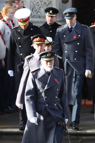 Wreaths Are Laid At The Cenotaph On Remembrance Sunday [military uniform,uniform,military officer,military person,navy,official,marching,military,gesture,event,michael,harry,anne,prince william,duke,princess royal,wreaths,the cenotaph on remembrance,kent,memorial]