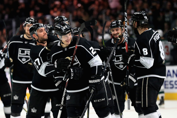 Minnesota Wild v Los Angeles Kings [sports,sports gear,team sport,college ice hockey,player,ice hockey,stick and ball games,hockey protective equipment,ball game,tournament,dustin brown,drew doughty,alec martinez,goal,overtime,fourth,staples center,los angeles,los angeles kings,minnesota wild]