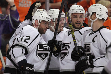 Dustin Brown Marian Gaborik Los Angeles Kings v Anaheim Ducks - Game One