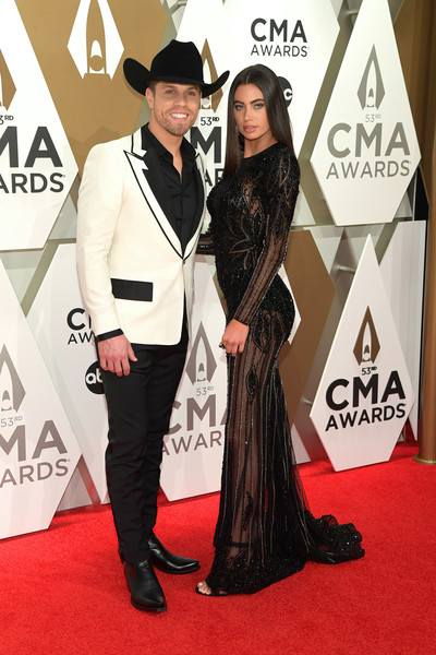 The 53rd Annual CMA Awards - Arrivals [red carpet,carpet,fashion,flooring,premiere,formal wear,event,suit,dress,fashion design,arrivals,kelli seymou,dustin lynch,cma awards,nashville,tennessee,music city center,l]
