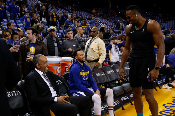 Charlotte Hornets v Golden State Warriors [photograph,sports,basketball,basketball player,sport venue,product,championship,basketball moves,team sport,basketball official,stephen curry,dell curry,dwight howard,user,user,note,charlotte hornets,golden state warriors,game]