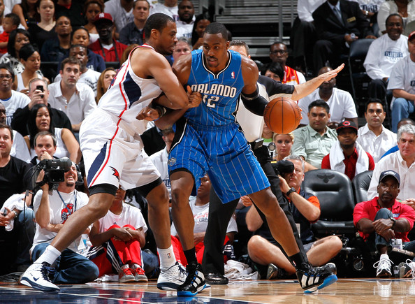 Dwight Howard and Jason Collins - Orlando Magic v Atlanta Hawks - Game Three