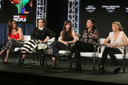 (L-R) Showrunner Stacy Rukeyser, co-creator Sarah Gertrude Shapiro, creator/showrunner Tara Armstrong, co-creator/co-showrunner Sera Gamble and show creator Jamie Denbo attend A+E Networks' 2018 Winter Television Critics Association Press Tour on January 14, 2018 in Pasadena, California.