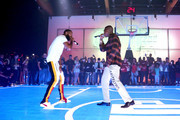Nipsey Hussle (L) and YG perform during EA SPORTS NBA Live 19 at Goya Studios on August 24, 2018 in Los Angeles, California.