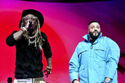 (L-R) Lil Wayne and DJ Khaled perform onstage during the EA Sports Bowl at Bud Light Super Bowl Music Fest on January 30, 2020 in Miami, Florida.
