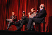 Film critic Richard Roeper, producer Jon Kilik, actor Chazz Palminteri and film critic Leonard Maltin speak onstage at the 'A BRONX TALE' Screening at Virginia Theatre during EBERTFEST 2015 on April 17, 2015 in Champaign, Illinois.