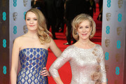 Juliet Stevenson (R) attends the EE British Academy Film Awards 2014 at The Royal Opera House on February 16, 2014 in London, England.