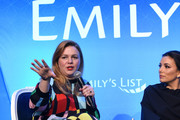 "(L-R) Amber Tamblyn and Eva Longoria speak onstage during EMILY's List Brunch and Panel Discussion ""Defining Women"" at Four Seasons Hotel Los Angeles at Beverly Hills on February 04, 2020 in Los Angeles, California."