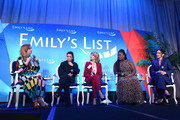 "(L-R) Amber Tamblyn, Eva Longoria, Wendy Davis, Uzo Aduba, and Amanda Shires speak onstage during EMILY's List Brunch and Panel Discussion ""Defining Women"" at Four Seasons Hotel Los Angeles at Beverly Hills on February 04, 2020 in Los Angeles, California."