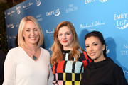 "(L-R) EMILY's List President Stephanie Schriock, Amber Tamblyn, and Eva Longoria attend EMILY's List Brunch and Panel Discussion ""Defining Women"" at Four Seasons Hotel Los Angeles at Beverly Hills on February 04, 2020 in Los Angeles, California."