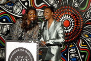 Marielle Bobo (L) and Justine Skye speak onstage during the ESSENCE Best In Black Fashion Awards at Affirmation Arts on September 04, 2019 in New York City.