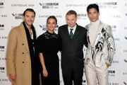 "Jack Huston, Alicia Vikander, Wash Westmoreland and Naoki Kobayashi attend the ""Earthquake Bird"" World Premiere during the 63rd BFI London Film Festival at the Vue West End on October 10, 2019 in London, England."