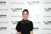 """Alicia Vikander attends the """"Earthquake Bird"""" World Premiere during the 63rd BFI London Film Festival at the Vue West End on October 10, 2019 in London, England."""