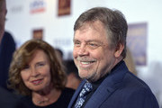 Marilou York and actor Mark Hamill attend Ed Asner's 90th Birthday Party and Celebrity Roast at The Roosevelt Hotel on November 03, 2019 in Hollywood, California.
