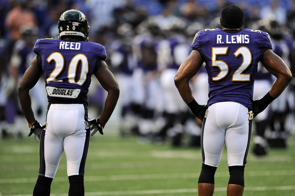 Ed Reed Safety Ed Reed #20 of the Baltimore Ravens and teammate linebacker Ray Lewis #52 of the Baltimore Ravens look on before playing the Jacksonville Jaguars during the preseason game at M&T Bank Stadium on August 23, 2012 in Baltimore, Maryland. The Baltimore Ravens won 48-17.