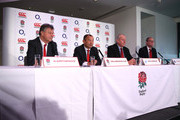 Eddie Jones,(2nd Left) the new England Rugby head coach, faces the media with Bill Beaumont, (2nd right) the RFU Chairman, Ian Ritchie,(L) the RFU chief executive and RFU communications director Will Chignell (R) at Twickenham Stadium on November 20, 2015 in London, England.