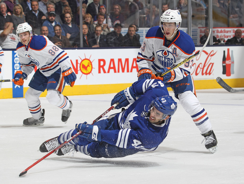 ryan nugent hopkins in edmonton oilers v toronto maple. Black Bedroom Furniture Sets. Home Design Ideas