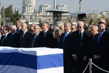 Ehud Olmert Memorial Service and Funeral Held for Ariel Sharon