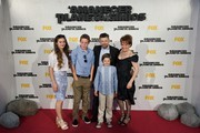 Actor Andy Serkis (2R), his wife Lorraine Ashbourne (R) and sons Ruby Sekis, Sonny Serkis and Louis Serkis attend the 'Dawn of the Planet of the Apes' (Amanecer en el Planeta de los Simios) premiere at the Capitol cinema on July 16, 2014 in Madrid, Spain.
