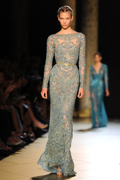 Karlie Kloss walks the runway the Elie Saab Haute-Couture show as part of Paris Fashion Week Fall / Winter 2012/13 at Pavillon Cambon Capucines on July 4, 2012 in Paris, France.