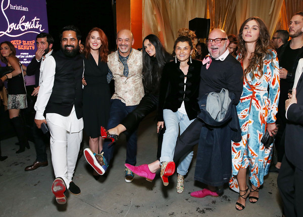 Christian Louboutin and Sabyasachi Unveil Capsule Collection at Just One Eye [christian louboutin,rumer moore,paola russo,rumer willis,fajer fahad,eric buterbaugh,elisa sednaou,just one eye,l-r,event,social group,fashion,pink,youth,fun,footwear,fashion design,performance,party,sabyasachi unveil capsule collection]