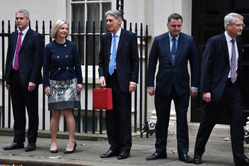 Elizabeth Truss Chancellor Leaves Downing Street for Budget Speech
