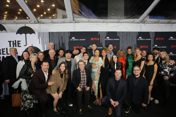 'The Umbrella Academy' Premiere [the umbrella academy,group photo,social group,event,crowd,team,premiere,audience,performance,crew,cast,pose,california,hollywood,cinerama dome,premiere]