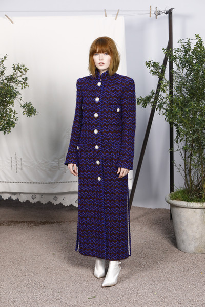 Chanel - Photocall - Paris Fashion Week - Haute Couture Spring Summer 2020 [clothing,purple,dress,coat,outerwear,fashion,formal wear,pattern,overcoat,sleeve,summer 2020,ellie bamber,chanel - photocall,part,paris,france,chanel haute couture spring,paris fashion week,haute couture spring summer,show,ellie bamber,paris fashion week,chanel,grand palais,haute couture,fashion,fashion week,fashion show,milan fashion week]