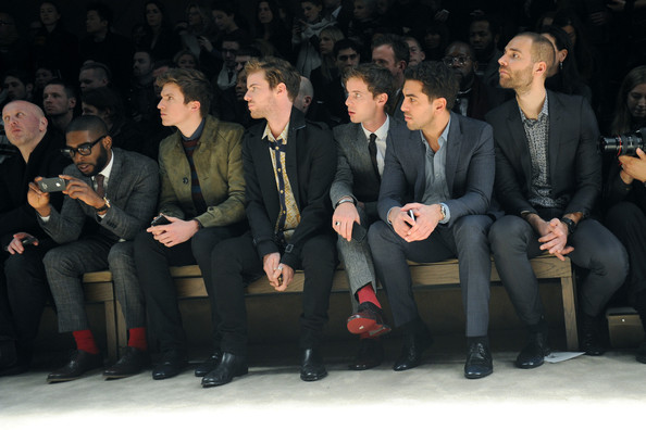 Burberry Prorsum: Front Row - Milan Fashion Week Menswear Autumn/Winter 2013 [social group,people,audience,event,fashion,suit,crowd,formal wear,businessperson,harry treadaway,luke treadaway,tinie tempah,elyas mbarek,greg james,front row,menswear autumn,l-r,burberry prorsum,milan fashion week]