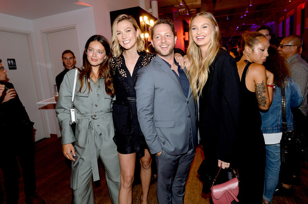 YouTube.com/Fashion Launch [event,fashion,fun,party,smile,crowd,emily didonato,romee strijd,karlie kloss,derek blasberg,youtube.com/fashion launch,l-r,new york city,launch]