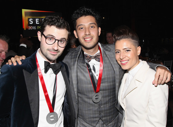 2016 SESAC Pop Music Awards - Show [event,fun,formal wear,suit,photography,party,tie,night,fashion accessory,smile,songwriters,cesar ramirez,emily king,jimmy napes,sesac pop music awards,l-r,new york city,show]