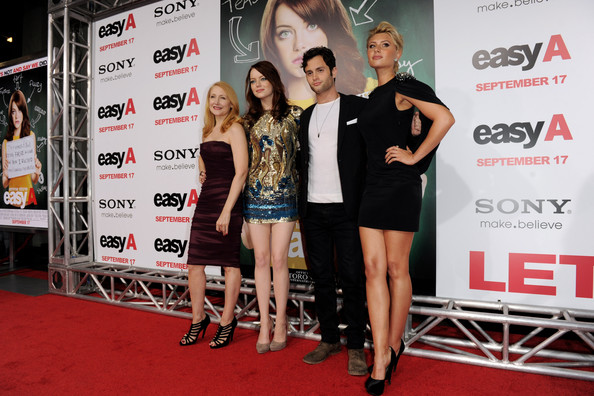 (L-R) Actors Patricia Clarkson, Emma Stone, Penn Badgley and Aly Michalka