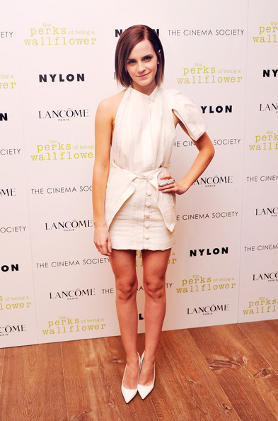 "Emma Watson - The Cinema Society With Lancome & Nylon Host A Screening Of ""The Perks Of Being A Wallflower""  - Arrivals"