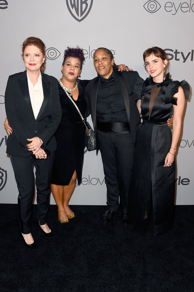 Warner Bros. Pictures And InStyle Host 19th Annual Post-Golden Globes Party - Arrivals [event,fashion,suit,little black dress,premiere,dress,formal wear,tuxedo,eyewear,carpet,arrivals,susan sarandon,emma watson,activists,marai larasi,rosa clemente,the beverly hilton hotel,warner bros. pictures,instyle host,post-golden globes party]