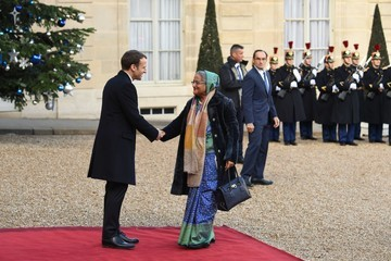Emmanuel Macron French President Emmanuel Macron Receives One Planet Summit's International Philanthropists at Elysee Palace in Paris