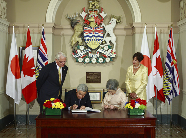 Emperor Akihito Japan's Emperor Akihito and Empress Michiko sign a guest book as B.C. Premier Gordon Campbell (L) and his wife Nancy Campbell (R) look on inside the British Columbia Legislature July 11, 2009 in Victoria, British Columbia, Canada. Emperor Akihito and Empress Michiko are visiting Canada on the 80th anniversary of diplomatic relations between the two countries.