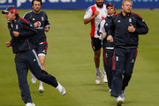 England players (L - R) Stuart Broad, Graham Onions, Monty Panesar, Ian Bell and Andrew Flintoff warm up during England nets at Edgbaston on July 28, 2009 in Birmingham, England.
