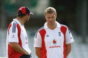 Andrew Flintoff of England talks to Steve Harmison of England during the England nets session at The Brit Oval on August 19, 2009 in London, England.