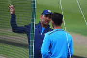 MS Dhoni of India talks to Virat Kohli during a India nets session ahead of the first Investec Test Series at Trent Bridge on July 8, 2014 in Nottingham, England.