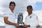 Alastair Cook, captain of England and MS Dhoni, captain of India pictured with the Investec trophy ahead of the first Investec Test Series at Trent Bridge on July 8, 2014 in Nottingham, England.