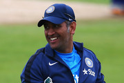 MS Dhoni of India looks on during a India nets session ahead of the first Investec Test Series at Trent Bridge on July 8, 2014 in Nottingham, England.