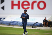 MS Dhoni of Inida in action during a India nets session ahead of the first Investec Test Series at Trent Bridge on July 8, 2014 in Nottingham, England.