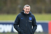 Aidy Boothroyd manager of England U21  reacts during an England U21 training session at St Georges Park on March 22, 2018 in Burton-upon-Trent, England. England are due to face Romania in the Cyrille Regis international on March 24.