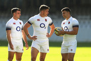 (L-R) George Ford, Owen Farrell and Ben Youngs gather during the England training session at Kings Park Stadium on June 15, 2018 in Durban, South Africa.
