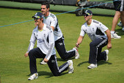 Steve Finn, Kevin Pietersen and Matt Prior warm up during the England Nets Session at Lords on May 25, 2010 in London, England.