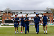 Alaistair Cook of England  walks out to practice with Nick Compton, Jonathan Trott, Jonny Bairstow and Joe Root during a training session at Lord's Cricket Ground on May 14, 2013 in London, England.