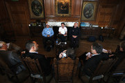 England assistant coaches (L-R) Brian Smith, Mike Ford and Graham Rowntree face the media during the England press conference held at Pennyhill Park on November 17, 2009 in Bagshot, England.