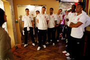 (L-R) Steven Gerrard, Scott Parker, John Terry, Glen Johnson, Jordan Henderson, Alex Oxlade-Chamberlain, Danny Welbeck and Ashely Cole during a visit by an England Football Association delegation to the Schindler Factory, ahead of Euro 2012, on June 8, 2012 in Oswiecim, Poland.