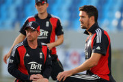 England captain Paul Collingwood (l) and Kevin Pietersen stretch during England nets today ahead of their two match World Call T-20 Challenge Trophy series at Dubai Sports City on February 18, 2010 in Abu Dhabi, United Arab Emirates.